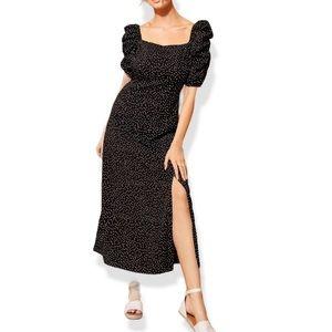 LTS Black Polka Dot Puff Sleeve Midaxi Dress Sz 12